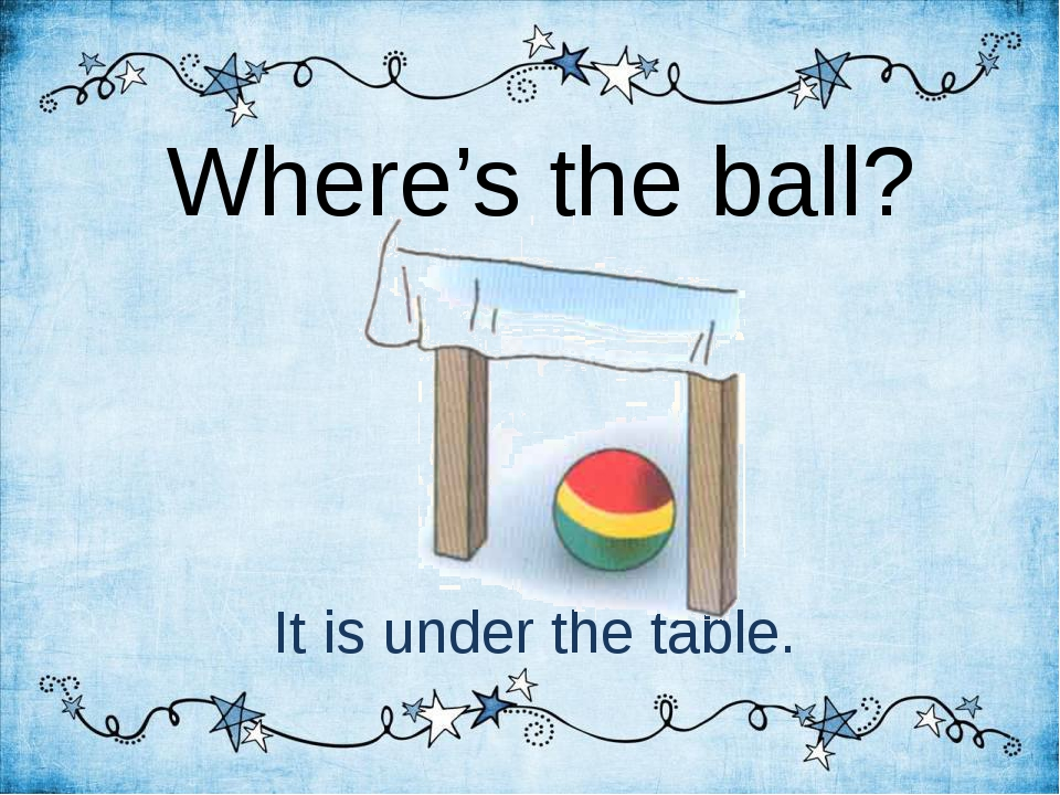 Where's the ball? It is under the table.