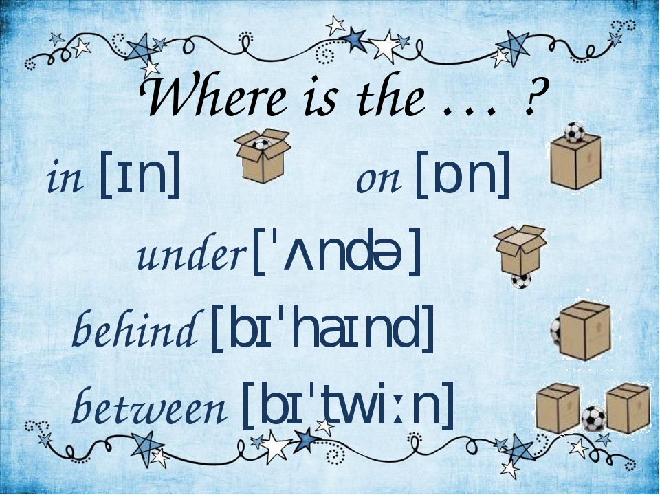 Where is the … ? in [ɪn] on [ɒn] under [ˈʌndə] behind [bɪˈhaɪnd] between [bɪˈ...