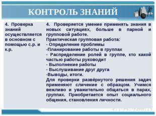 КОНТРОЛЬ ЗНАНИЙ 4. Проверка знаний осуществляется в основном с помощью с.р. и