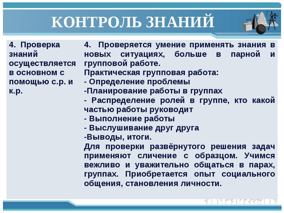 КОНТРОЛЬ ЗНАНИЙ 4. Проверка знаний осуществляется в основном с помощью с.р. и...