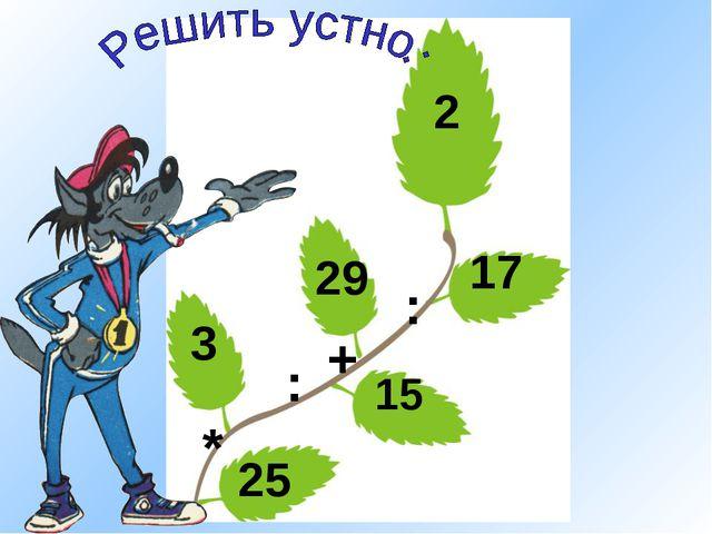 25 * 3 : 15 + 29 : 17 2