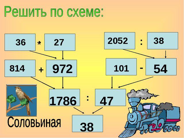 * 36 * 27 2052 : 38 814 + 101 - : 972 54 1786 47 38
