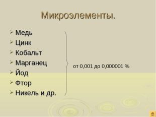 Микроэлементы. Медь Цинк Кобальт Марганец Йод Фтор Никель и др. от 0,001 до 0