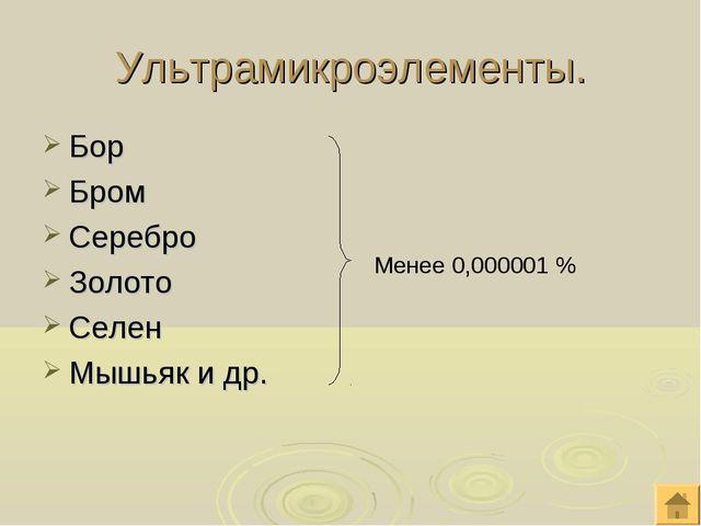 Ультрамикроэлементы. Бор Бром Серебро Золото Селен Мышьяк и др. Менее 0,00000...