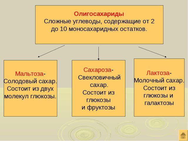 Олигосахариды Сложные углеводы, содержащие от 2 до 10 моносахаридных остатков...
