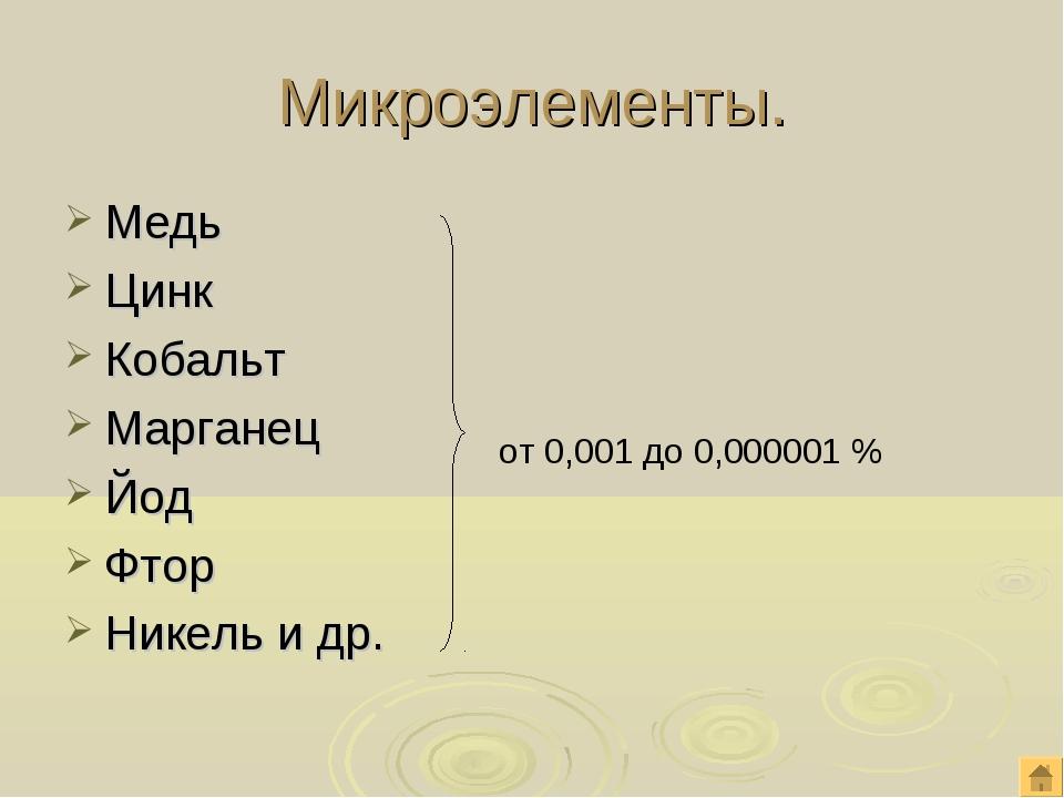 Микроэлементы. Медь Цинк Кобальт Марганец Йод Фтор Никель и др. от 0,001 до 0...
