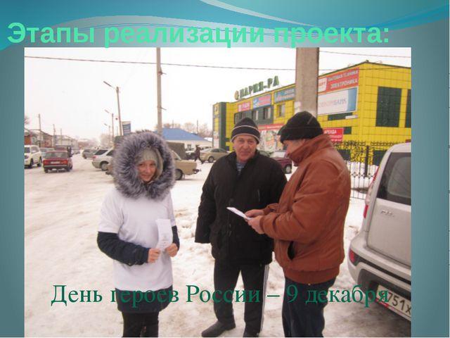 Этапы реализации проекта: День героев России – 9 декабря