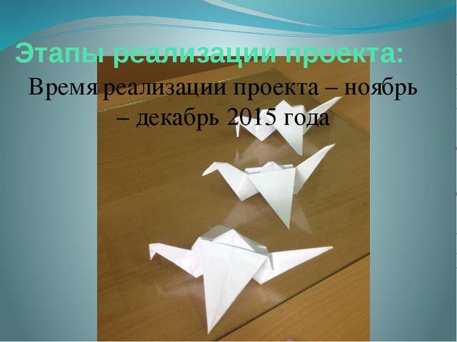 Этапы реализации проекта: Время реализации проекта – ноябрь – декабрь 2015 года
