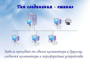 Тип соединения - «шина» Кабель проходит от одного компьютера к другому, соеди