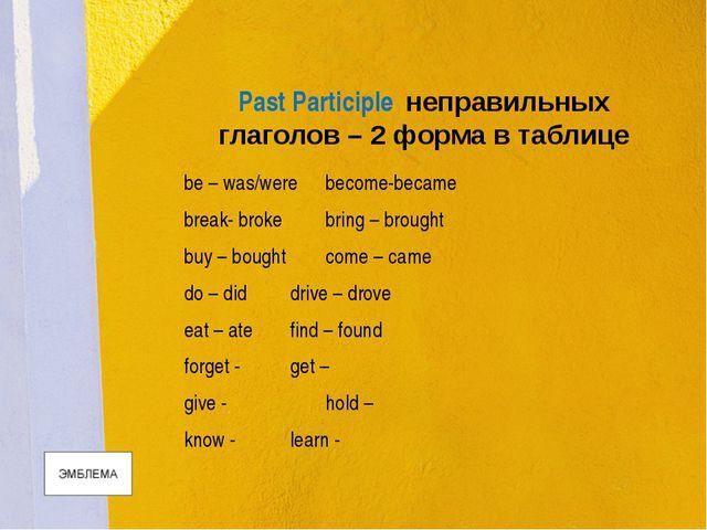 Past Participle неправильных глаголов – 2 форма в таблице be – was/werebecom...
