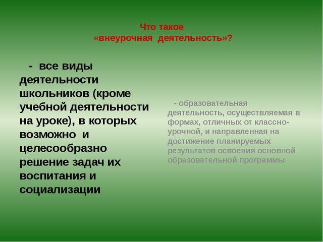 Что такое «внеурочная деятельность»? - все виды деятельности школьников (кро...