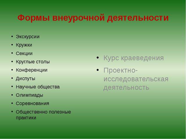 Формы внеурочной деятельности Экскурсии Кружки Секции Круглые столы Конференц...