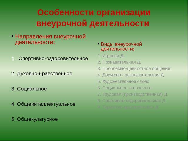 Особенности организации внеурочной деятельности Направления внеурочной деятел...