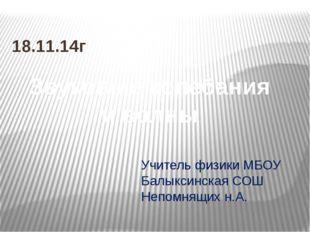Учитель физики МБОУ Балыксинская СОШ Непомнящих н.А. 18.11.14г Звуковые колеб