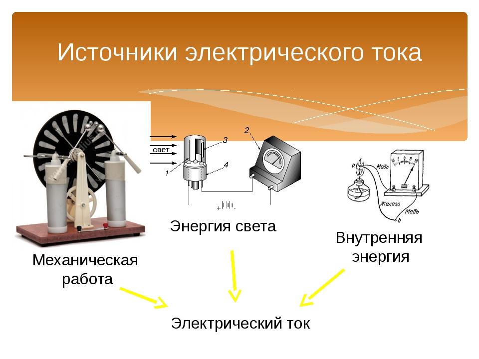 Источники электрического тока Механическая работа Энергия света Внутренняя эн...