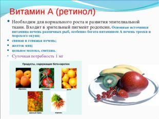 Витамин А (ретинол) Необходим для нормального роста и развития эпителиальной