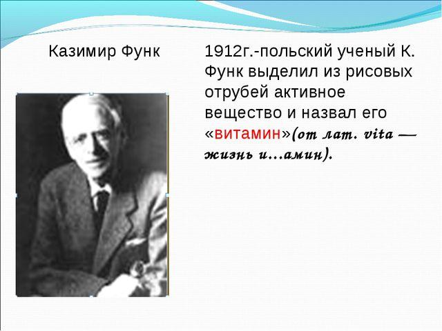 1912г.-польский ученый К. Функ выделил из рисовых отрубей активное вещество и...