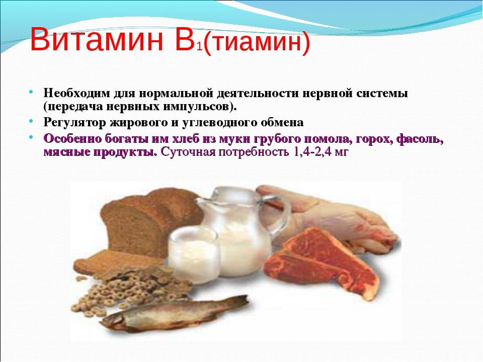 Витамин В1(тиамин) Необходим для нормальной деятельности нервной системы (пер...