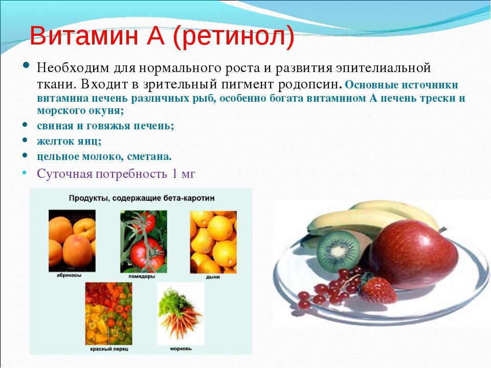 Витамин А (ретинол) Необходим для нормального роста и развития эпителиальной...