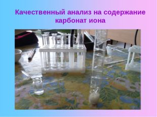 Качественный анализ на содержание карбонат иона