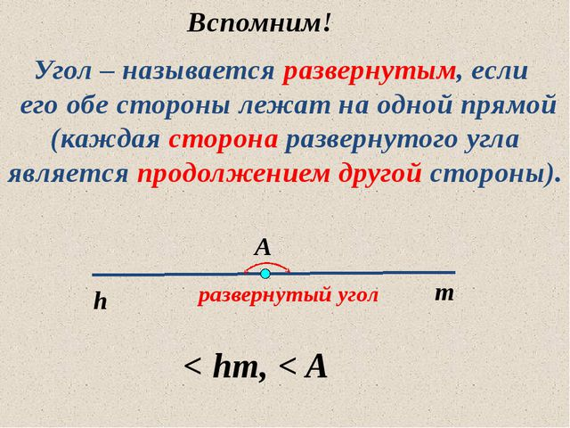 Угол – называется развернутым, если его обе стороны лежат на одной прямой (ка...