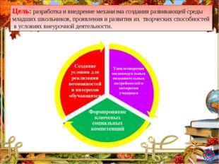 Цель: разработка и внедрение механизма создания развивающей среды младших шко