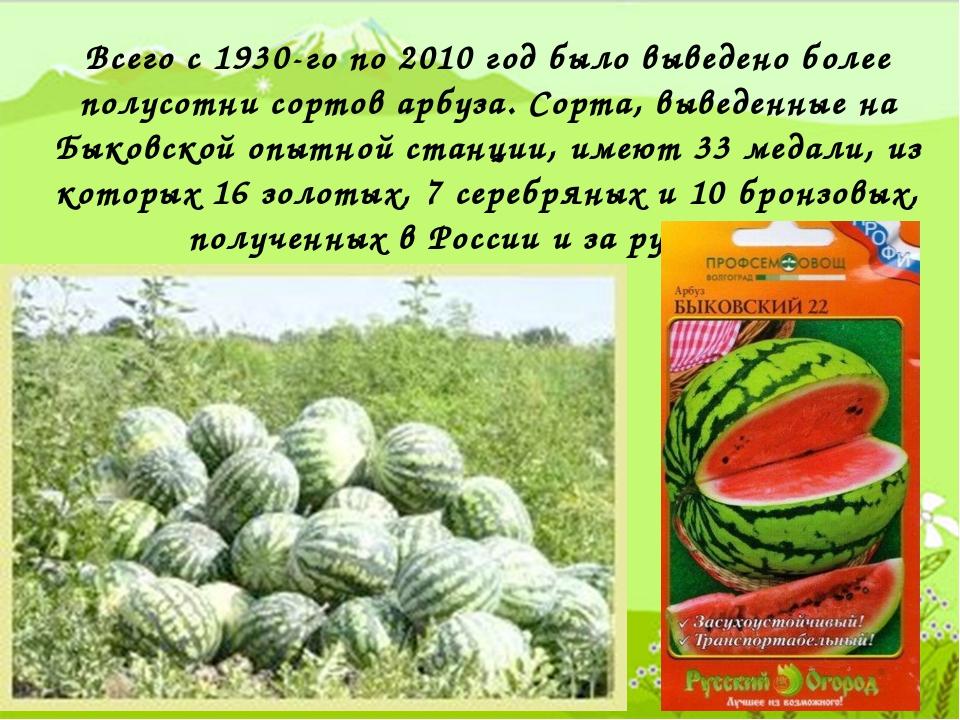 Всего с 1930-го по 2010 год было выведено более полусотни сортов арбуза. Сор...
