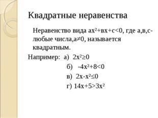 Квадратные неравенства Неравенство вида ах²+вх+с