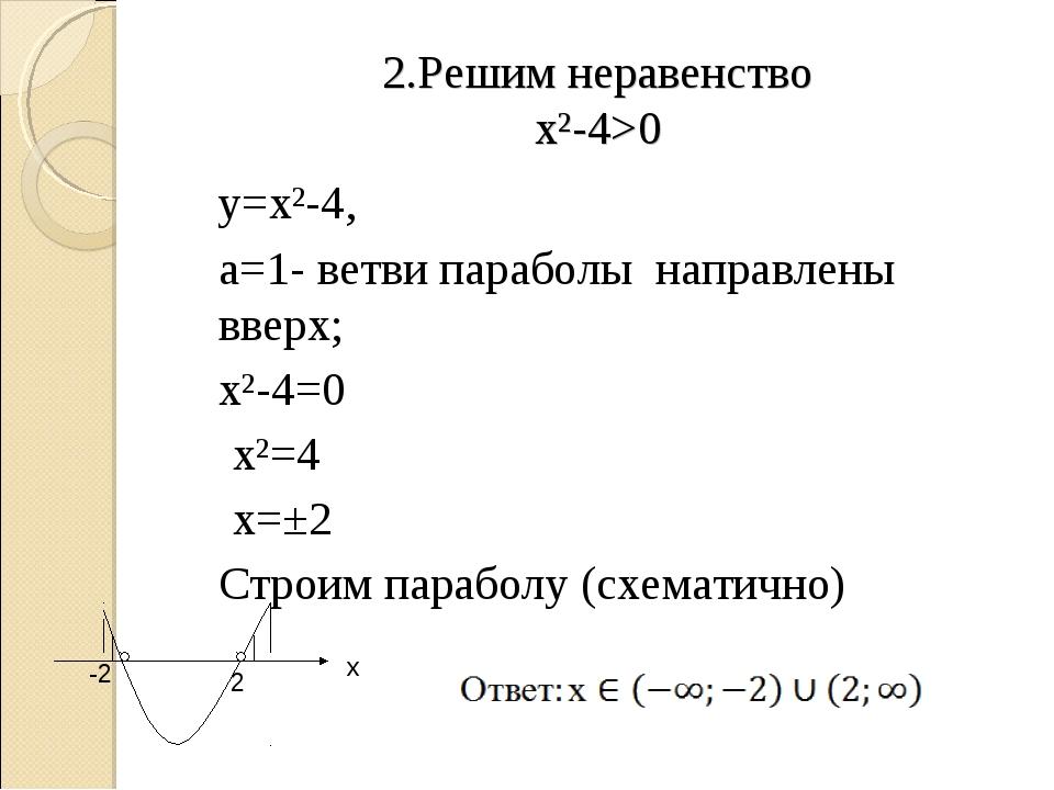 2.Решим неравенство х²-4>0 у=х²-4, а=1- ветви параболы направлены вверх; х...