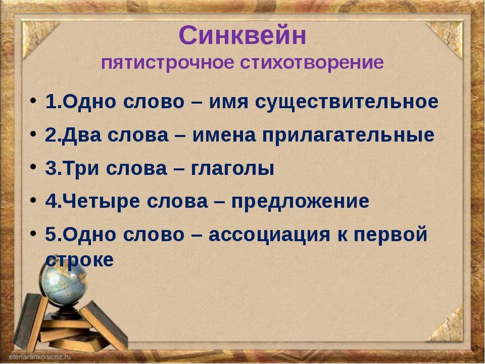 Синквейн пятистрочное стихотворение 1.Одно слово – имя существительное 2.Два...