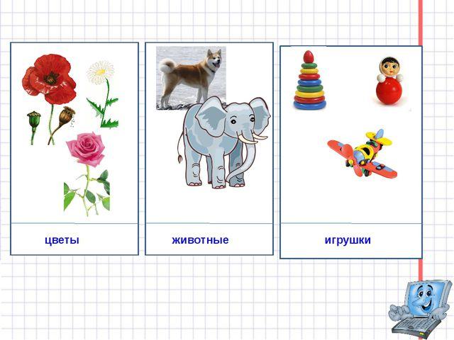 цветы животные игрушки