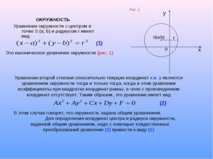 ОКРУЖНОСТЬ Уравнение окружности с центром в точке S (a; b) и радиусом r имее