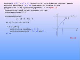 Отсюда 2р = 1/2, т.е. p/2 = 1/8. таким образом, в новой системе координат дан