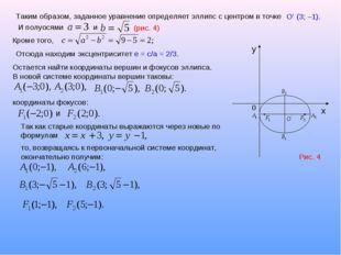 Таким образом, заданное уравнение определяет эллипс с центром в точке O' (3;