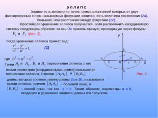 Э Л Л И П С Эллипс есть множество точек, сумма расстояний которых от двух фи