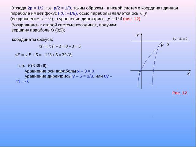 Отсюда 2р = 1/2, т.е. p/2 = 1/8. таким образом, в новой системе координат дан...