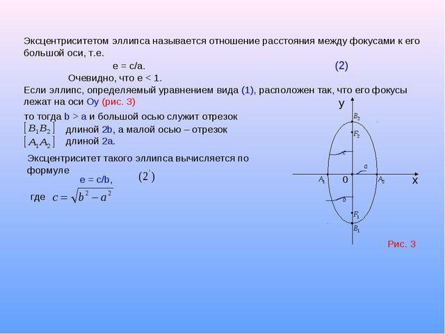 Эксцентриситетом эллипса называется отношение расстояния между фокусами к его...