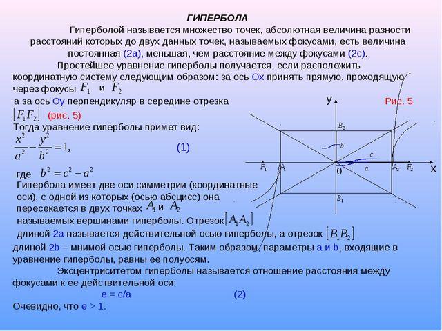 ГИПЕРБОЛА Гиперболой называется множество точек, абсолютная величина разност...