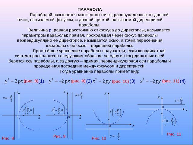 ПАРАБОЛА Параболой называется множество точек, равноудаленных от данной точк...