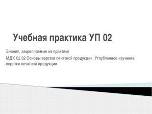 Учебная практика УП 02 Знания, закрепляемые на практике МДК 02.02 Основы верс