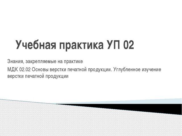 Учебная практика УП 02 Знания, закрепляемые на практике МДК 02.02 Основы верс...