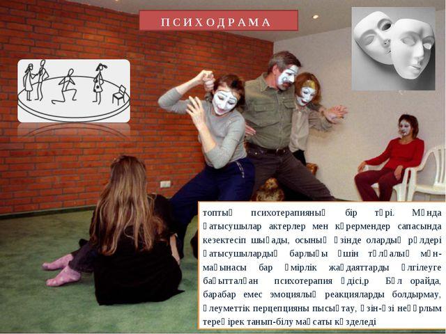 П С И Х О Д Р А М А топтық психотерапияның бір түрі. Мұнда қатысушылар актерл...