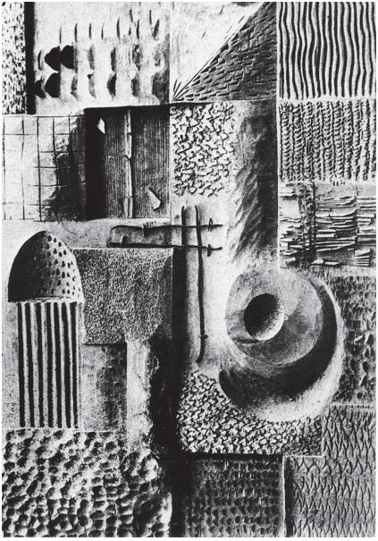 с. 45 Текстуры, полученные при резьбе по дереву. Х.Буссе, Веймар. 1922 Перед будущим скульптором по дереву была поставлена задача исследовать возмож-ности материала и инструмен-тов. Студент должен был с помощью различных стамесок создать на деревянной повер-хности разнообразные тексту-ры, не стесняя себя рамками изобразительных форм.