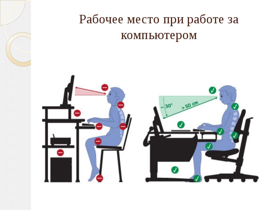Рабочее место при работе за компьютером