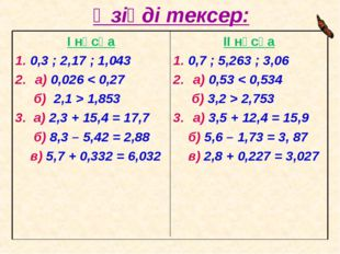 Өзіңді тексер: II нұсқа 1. 0,7 ; 5,263 ; 3,06 а) 0,53 < 0,534 б) 3,2 > 2,753