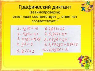 Графический диктант (взаимопроверка) ответ «да» соответствует _, ответ нет со