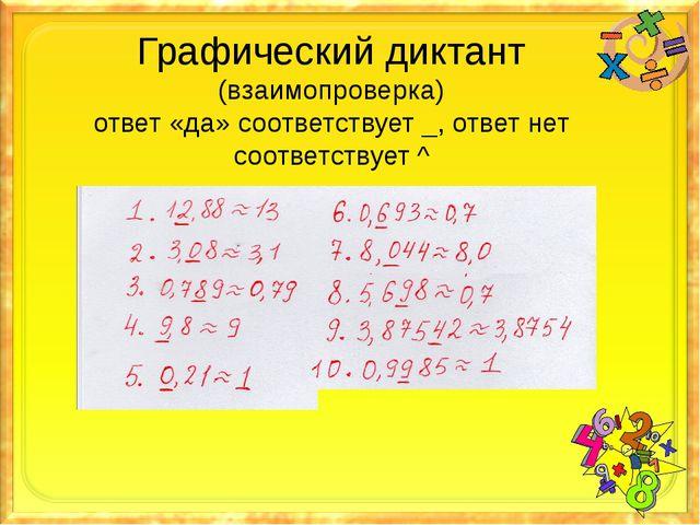 Графический диктант (взаимопроверка) ответ «да» соответствует _, ответ нет со...
