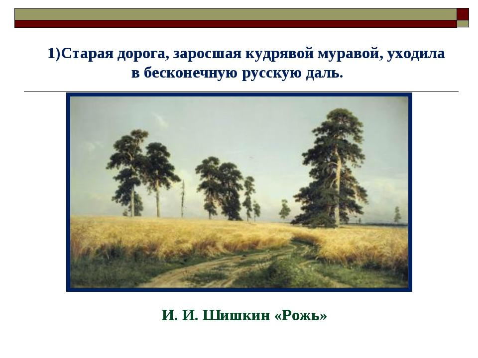 Старая дорога, заросшая кудрявой муравой, уходила в бесконечную русскую даль....