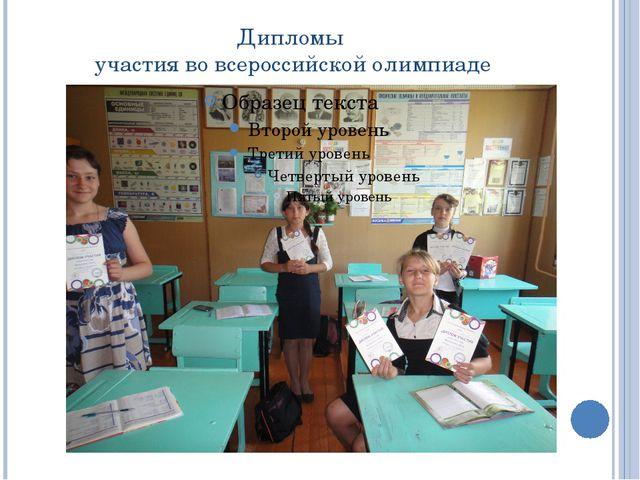 Дипломы участия во всероссийской олимпиаде