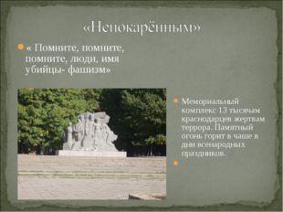 « Помните, помните, помните, люди, имя убийцы- фашизм» Мемориальный комплекс